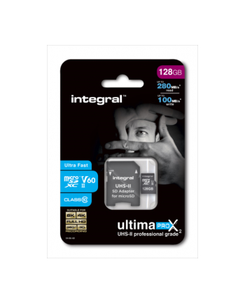Integral microSDXC 280-100MB UHS-II V60 + SD Adapter, 128GB
