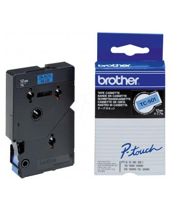 Taśma Brother 12mm BLACK ON BLUE TAPE