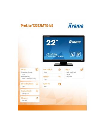 Monitor IIyama T2252MTS-B5 22inch, Optical Touch, Full HD, HDMI