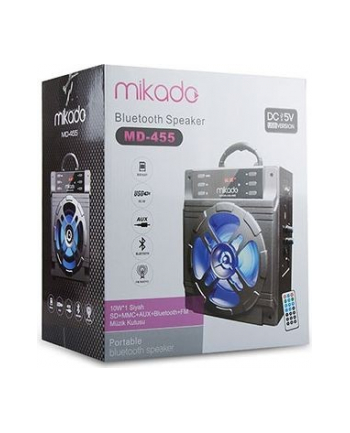 Głośnik Bluetooth Mikado MD-455 10W USB+SD+FM Karaoke LED