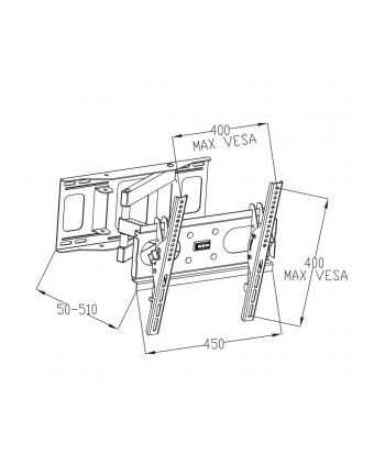 ART UCHWYT DO TV LED/LCD 23-46'' 35KG AR-77 reg. pion/poziom, 51cm odl. od ściany