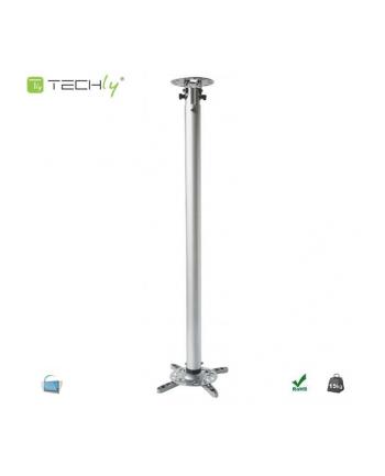 Ramię do projektora Techly 110-190 cm. sufitowe, srebrne