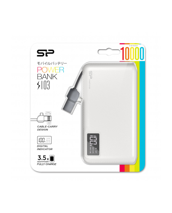 Silicon Power S103 Power Bank 10000mAH, microUSB, USB, LCD, Biały