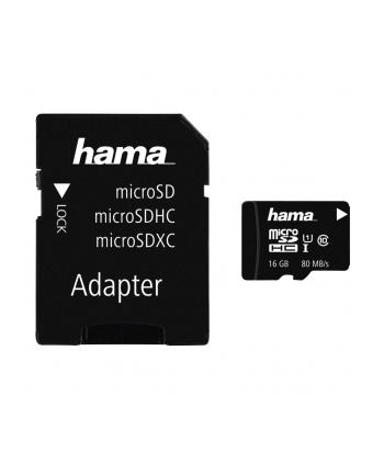Hama Polska micro SDHC MSDHC16GB 16GB Class 10 +Adapter microSD-SD