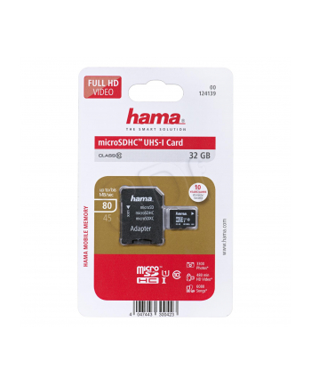 Hama Polska SDHC MSDHC 32GB Class 10 + Adapter microSD-SD
