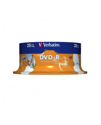 Płytki DVD-R Verbatim 4.7GB  16x | do nadruku Retail Wide cake box 25