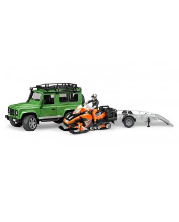 Land Rover z lawetą, skuterem śnieżnym i figurką BRUDER