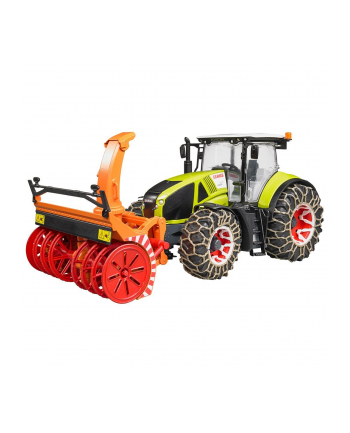 Traktor Claas Axion 950 z pługiem śnieżnym i łańcuchami na kołach 03017 BRUDER