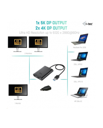 iTec i-tec USB 3.0 / USB-C Dual Display Port Video Adapter 2x 4K 60Hz lub 1x 5K 60Hz