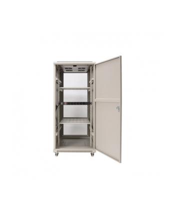 Szafa stojąca 19 27U 600x800mm                         (drzwi szklane, 4xwent., 2xpolka, 1xlistwa) RAL7044 NCB27-68-BAB-C