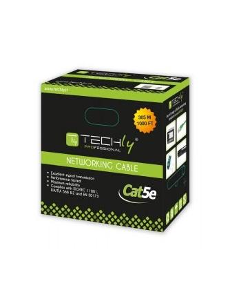techly Kabel instalacyjny skrętka UTP Cat5e 4x2 drut 100% miedź 305m   szary
