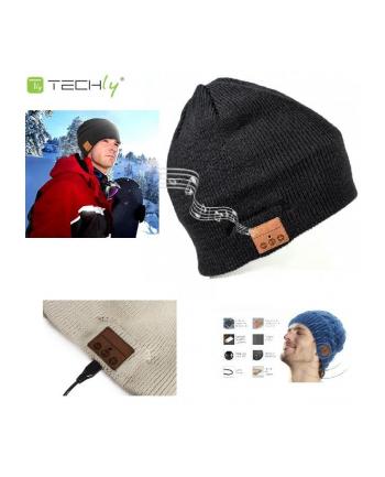 Techly Czapka, Bezprzewodowe słuchawki stereo Bluetooth z mikrofonem czarna
