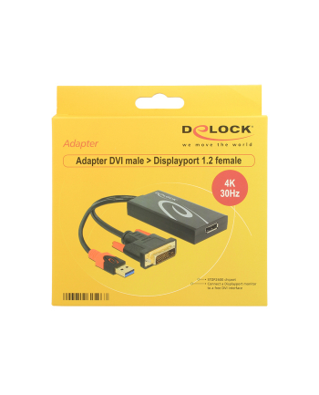 Delock Adapter DVI męski > Displayport 1.2 żeński czarny