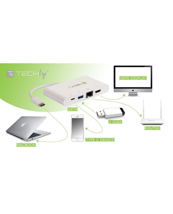 Techly USB-C 3.1 multiport adapter -> 4K HDMI/Gigabit RJ45/USB-A/USB-C biały