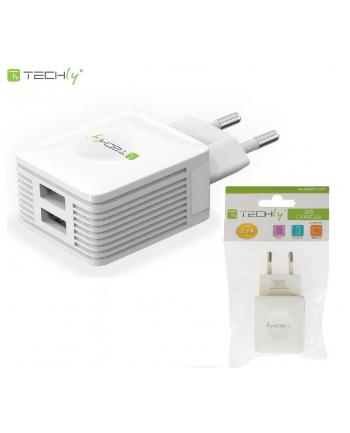 Techly Dwuportowa sieciowa ładowarka 230V -> 2x USB 5V 2.1A & 2.1A biała