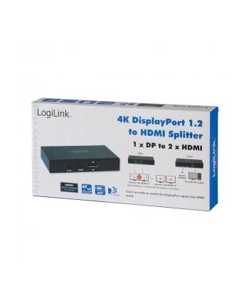 logilink Splitter 4K Display Port 1.2 do 2xHDMI