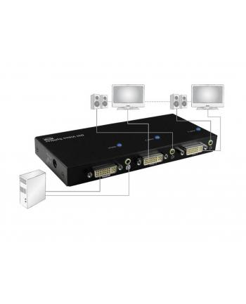 digitus Rozdzielacz/Splitter DVI 2-portowy, 1920x1200p WUXGA, z audio (MiniJack)