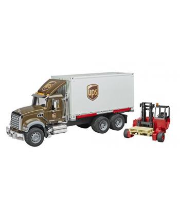 MACK Granite kurier UPS z figurką kierowcy i podnośnikiem 02828 BRUDER