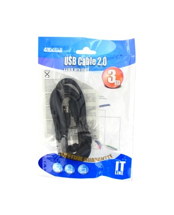 4World Kabel USB 2.0 typu A-B M/M 3.0 m High Quality, ferryt - retail