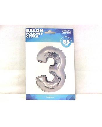 godan Balon foliowy Cyfra 3, srebrna,85cm, FG-S85S3