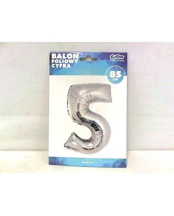 godan Balon foliowy Cyfra 5, srebrna,85cm, FG-S85S5