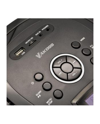 Vakoss Boombox PF-6538K z Bluetooth/ FM/ USB/ Micro SD/ wyświetlacz LCD, czarny