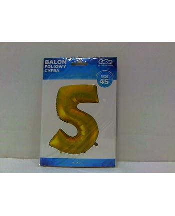 godan Balon foliowy Cyfra 5 złota 85cm HS-C45ZM5
