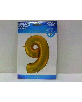 godan Balon foliowy Cyfra 9 złota 85cm HS-C45ZM9