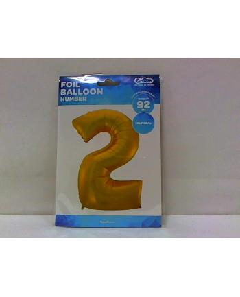 godan Balon foliowy Cyfra 2 złota 85cm HS-C45ZM2