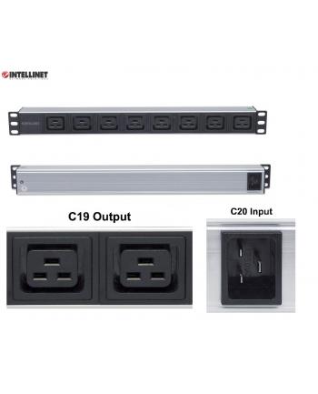intellinet network solutions Intellinet Listwa zasilająca rack 19'' 1U  110V - 250V/16A 8 gniazd C19 kabel 2m