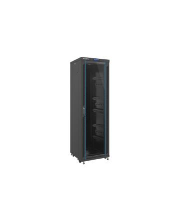 Lanberg szafa stojąca rack 19'' 37U/600x6000mm czarna, szklane LCD; flat pack