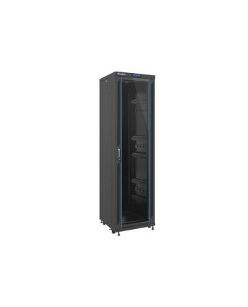 Lanberg szafa stojąca rack 19'' 42U/600x6000mm czarna, szklane LCD; flat pack