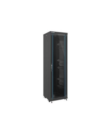Lanberg szafa stojąca rack 19'' 42U/600x6000mm czarna, drzwi szklane; flat pack