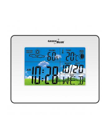 GreenBlue GB148W Stacja pogody zegar kalendarz fazy księżyca biała