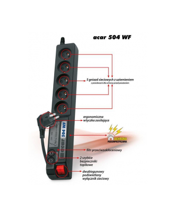 hsk data (acar) Acar 504WF listwa zasilająco-filtrująca, czarna 5m
