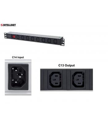 intellinet network solutions Intellinet Listwa zasilająca rack 19'' 1U  110V - 250V/10A 8 gniazd C13 kabel 2m