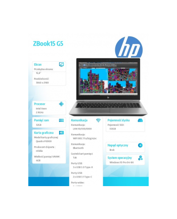 hp inc. Laptop ZBook 15 G5 E-2186M 512/32/15,6/W10P 2ZC64EA
