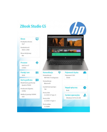 hp inc. Laptop ZBook Studio G5 W10P i7-8750H/512/16  4QH10EA