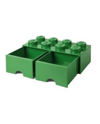 Podwojna szuflada klocek LEGO® z 8 wypustkami (Dark Green)