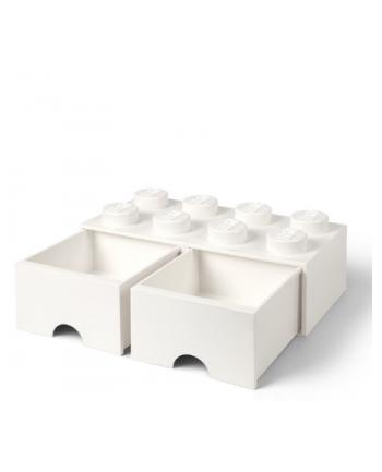 Podwojna szuflada klocek LEGO® z 8 wypustkami (White)