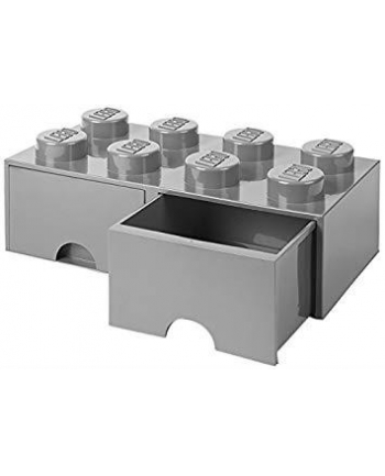 Podwojna szuflada klocek LEGO® z 8 wypustkami (Medium Stone Grey)