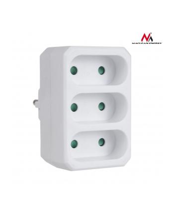 Maclean MCE212 Gniazdko prądowe potrójne płaskie 3x6A wtyk uniwersalny