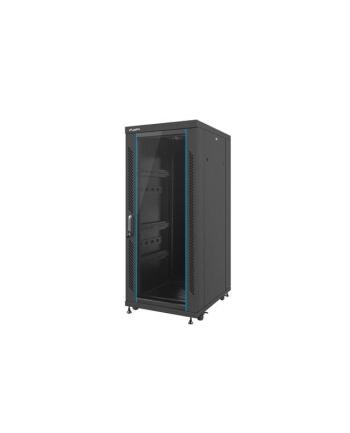 Lanberg szafa stojąca rack 19'' 27U/600x8000mm czarna, szklanne drzwi, flat pack