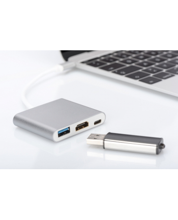 digitus Multi Adapter 1xHDMI 4K 30Hz UHD, 1xUSB Typ C PD, 1xUSB A na USB 3.0 Typ C, z audio, aluminiowy