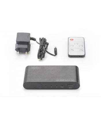 digitus Rozdzielacz/Splitter HDMI 3-portowy, 4K 60Hz UHD 3D HDR, HDCP 2.2, audio