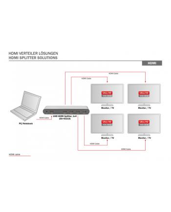 digitus Rozdzielacz/Splitter HDMI 4-portowy, 4K 60Hz UHD 3D HDR, HDCP 2.2, audio