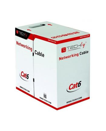 techly Kabel instalacyjny skrętka UTP Cat6 4x2 drut 100% miedź  305m szary
