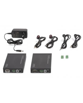 digitus Przedłużacz/Extender HDMI HDBaseT do 100m po Cat.6/7 4K 60Hz UHD HDCP 2.2, IR, RS232, audio (zestaw)