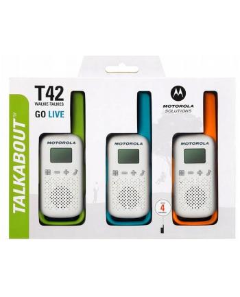 Motorola T42 Triple Pack Krótkofalówka, (Walkie-Talkie), 4 km, 3 kolory