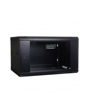 DIGITUS Szafa wisząca 19'' 4U 279/600/450mm, drzwi szklane, czarna, niezmontowana